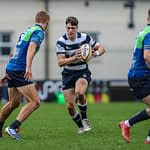 Heriots Ben Evans  looks for a gap in the Boroughmuir defence. FOSROC Super 6 match between Heriot's Rugby and Boroughmuir Bears at Goldenacre, Edinburgh on 09/10/2021. (Photo: 39 Design Photography)