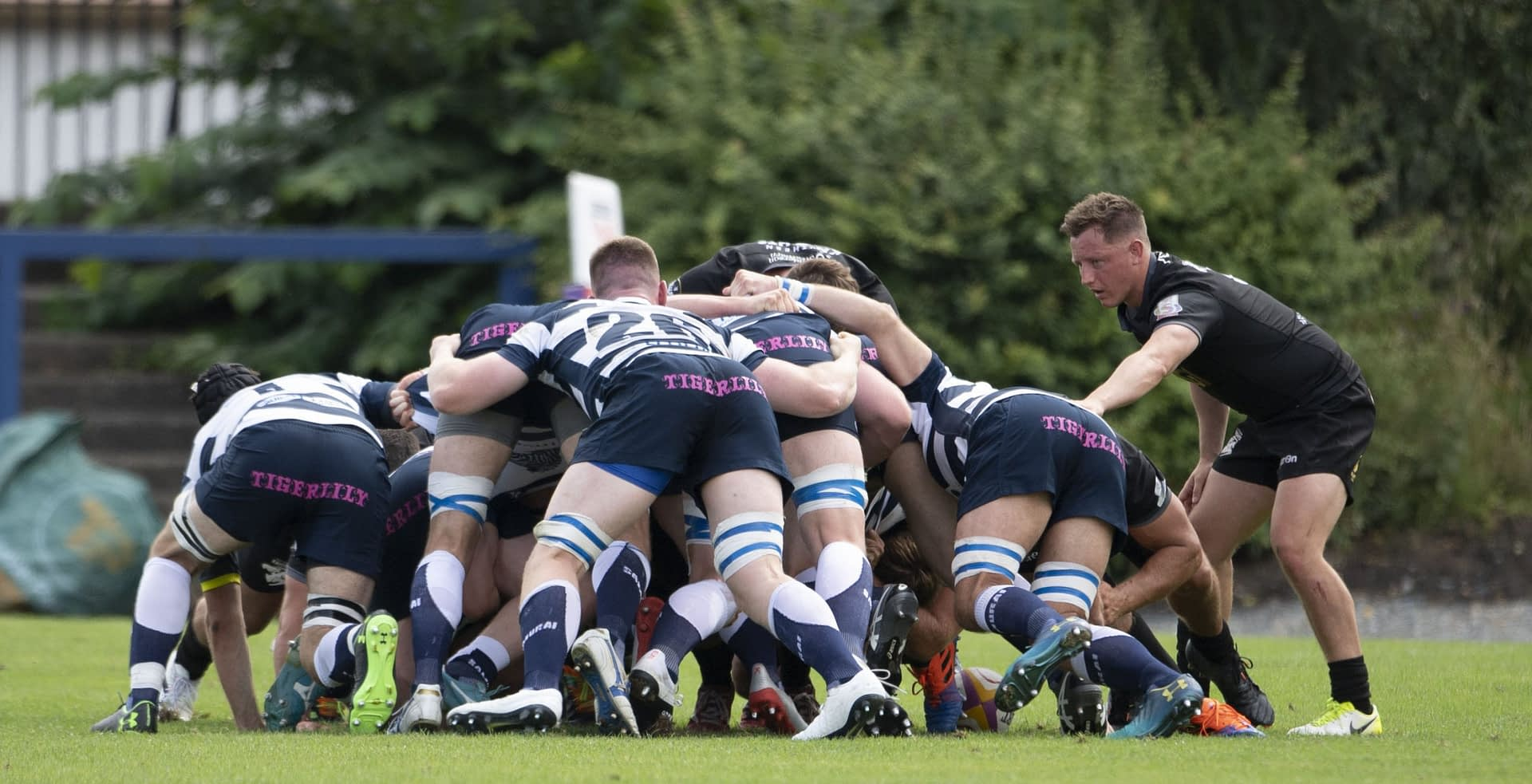 EDINBURGH, SCOTLAND - AUGUST 08: A Scrum takes place during a FOSROC Super6 match between Heriot's and Southern Knights at Heriot's Rugby Club, on August 08, 2021, in Edinburgh, Scotland. (Photo by Paul Devlin / SNS Group)