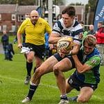 Boroughmuirs Duncan Munn tackles Heriots Ben Evans.FOSROC Super 6 match between Heriot's Rugby and Boroughmuir Bears at Goldenacre, Edinburgh on 09/10/2021. (Photo: 39 Design Photography)
