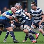 Heriots Jason Hill tackles Boroughmuirs Craig McKenzie. FOSROC Super 6 match between Heriot's Rugby and Boroughmuir Bears at Goldenacre, Edinburgh on 09/10/2021. (Photo: 39 Design Photography)