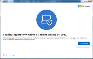Windows 7 End of Support Pop up